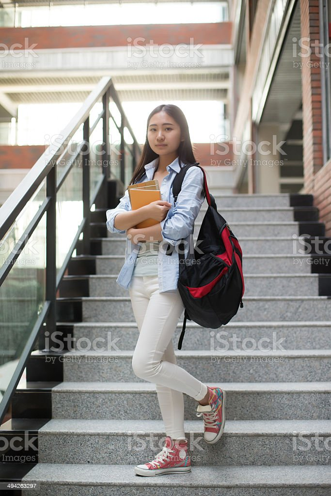 Asian female students on campus royalty-free stock photo