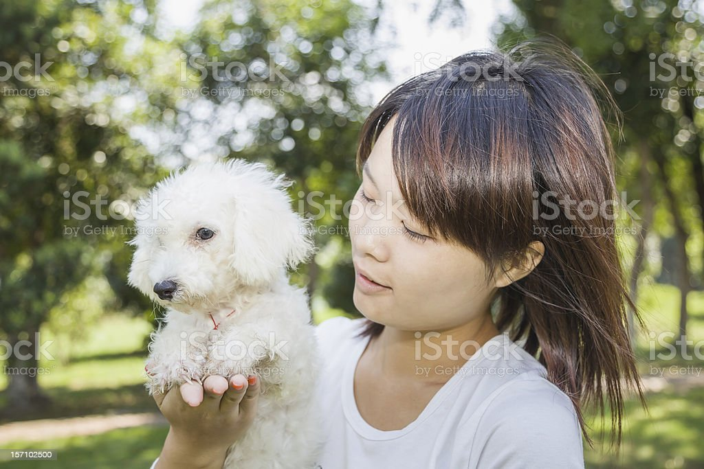 asian female with dog royalty-free stock photo