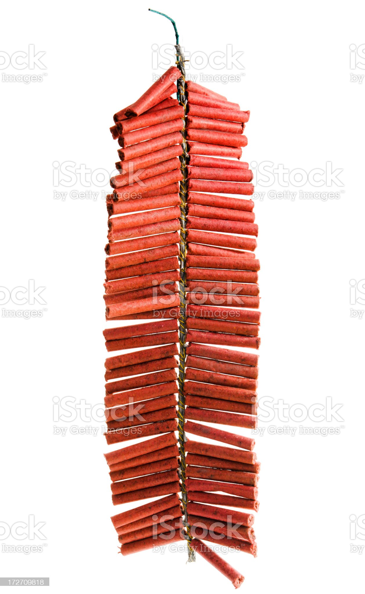 Asian Firecrackers Isolated cut out on White Background royalty-free stock photo