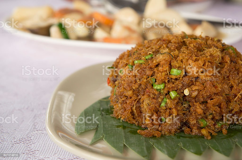asian fish mince asian food meal table stock photo