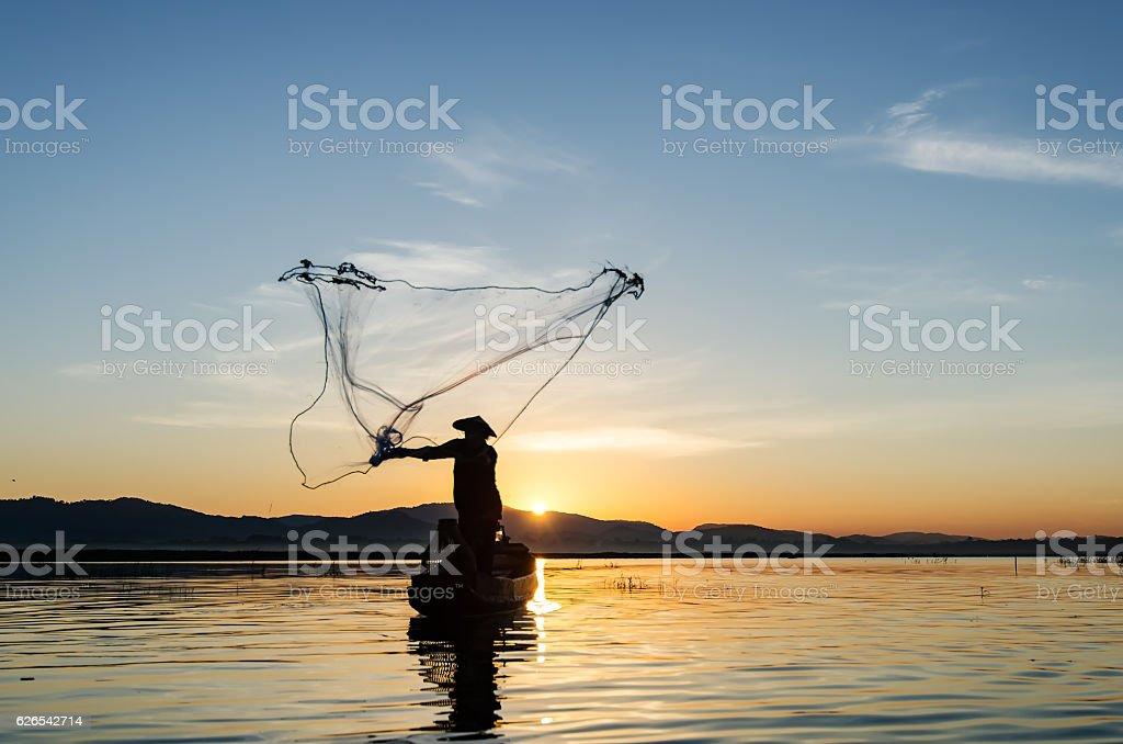 Asian fisherman stock photo