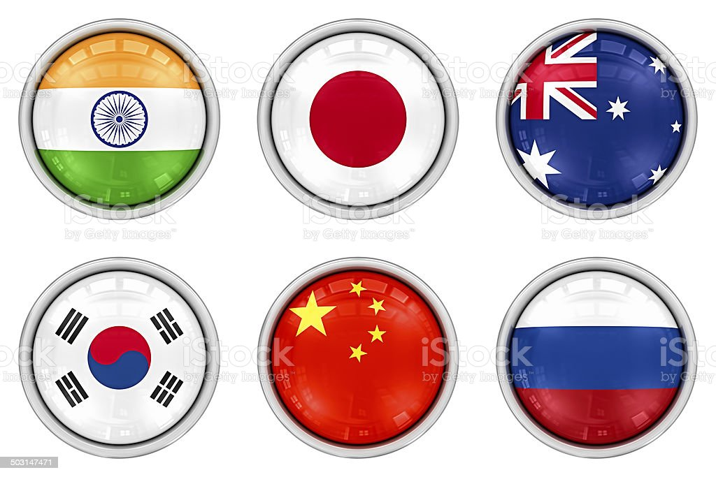 asian flag buttons royalty-free stock photo