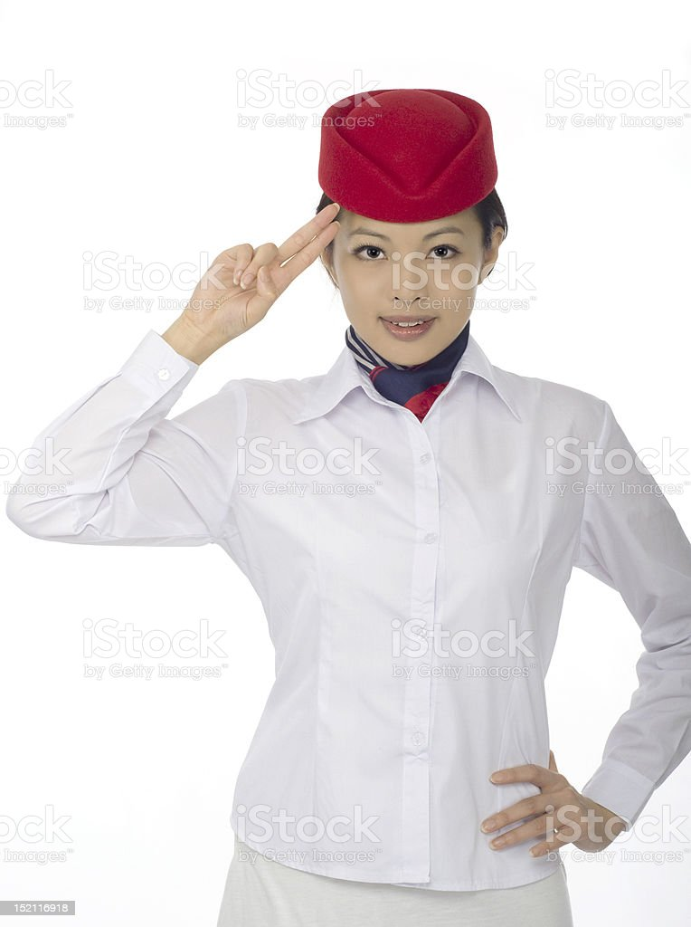 Asian flight attendant royalty-free stock photo