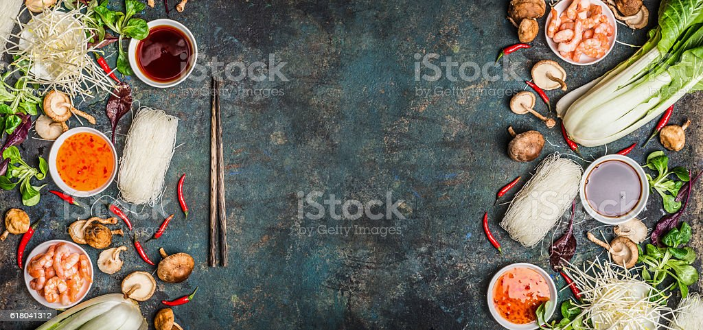 Asian food background with various of cooking ingredients stock photo