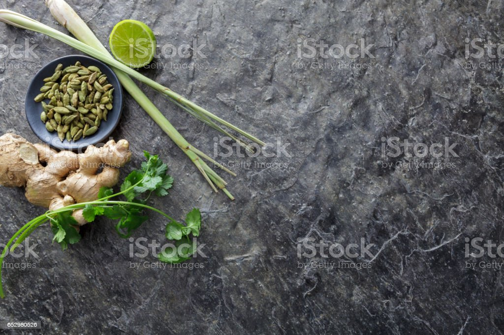 Asian Food: Cardamon, Cilantro, Ginger, Lemon Grass and Lime stock photo