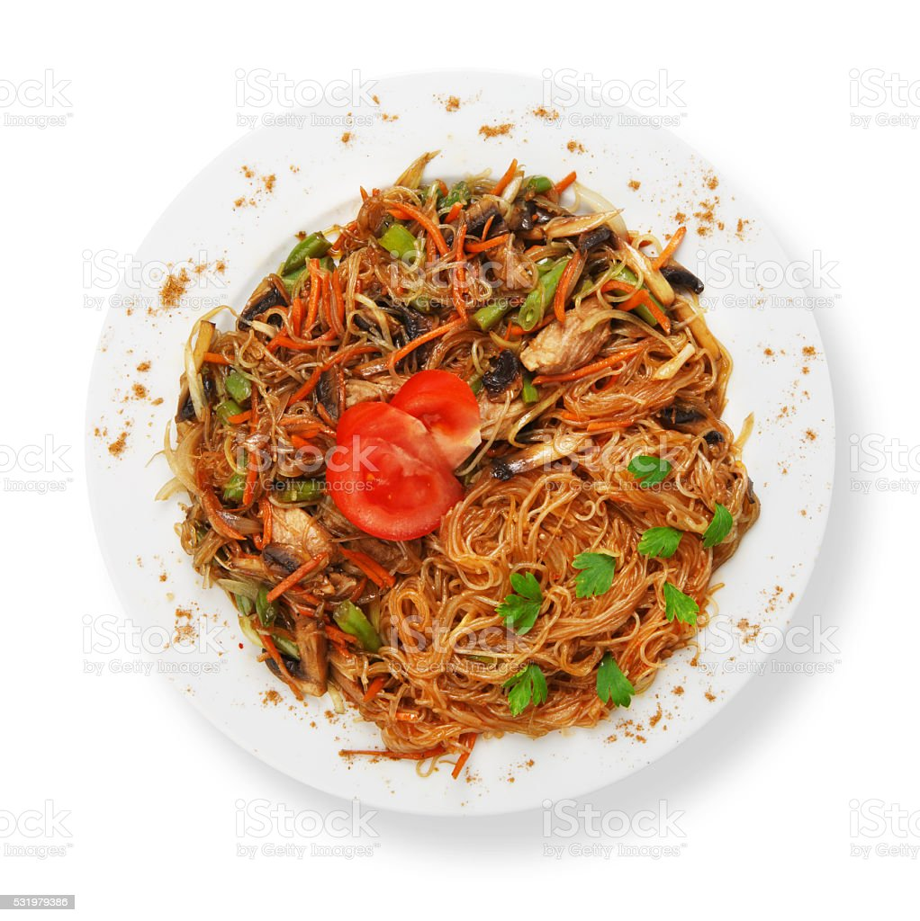 Asian food. Fried Thai Rice noodles stock photo