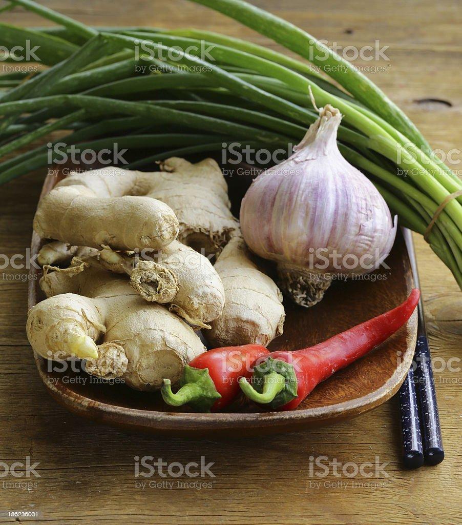 Asian food ingredients - ginger, chili pepper, garlic royalty-free stock photo