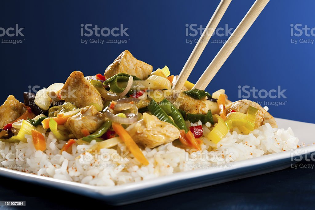 Asian food - roasted meat and vegetables stock photo