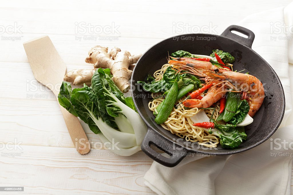 Asian Food: Stir Fried Shrimps and Noodles Still Life stock photo