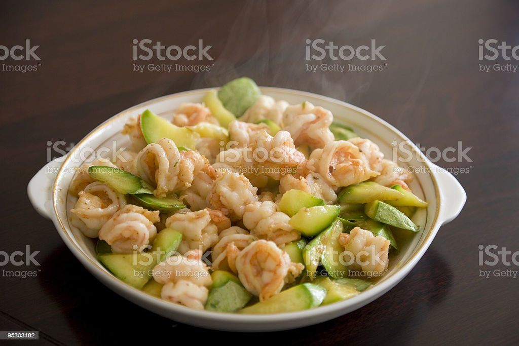 Asian food - stir-fried shrimps royalty-free stock photo