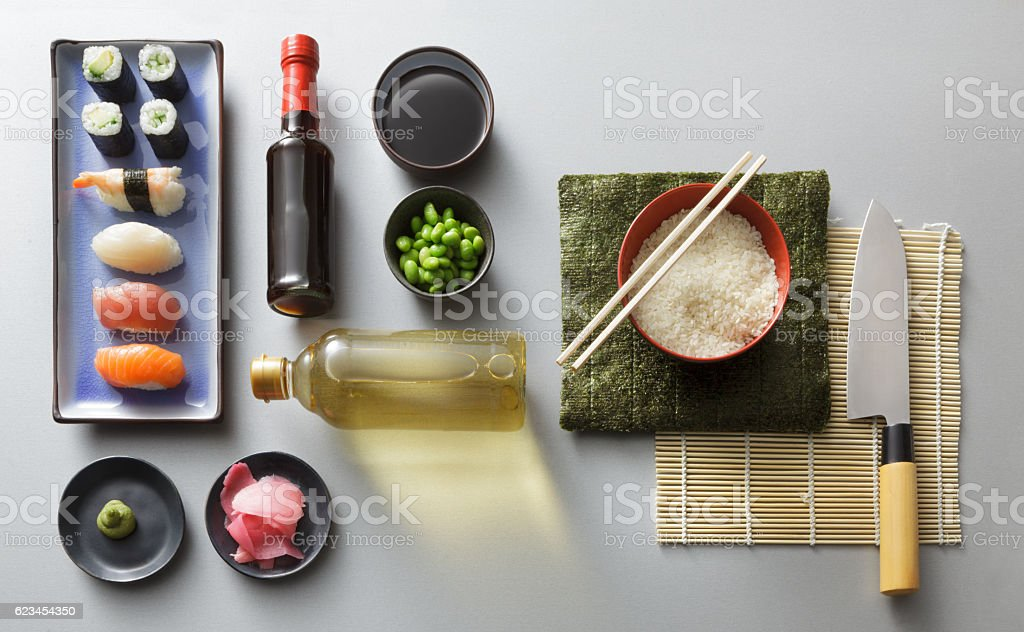 Asian Food: Sushi Ingredients Still Life stock photo