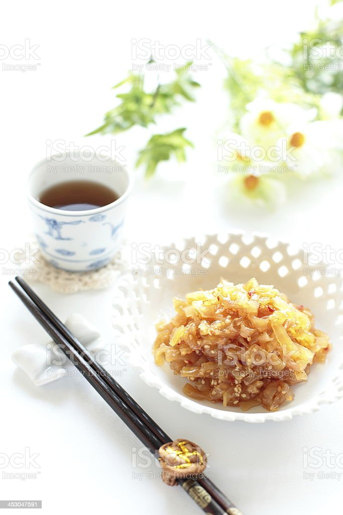 asian food, tossed jelly fish and chinese tea royalty-free stock photo