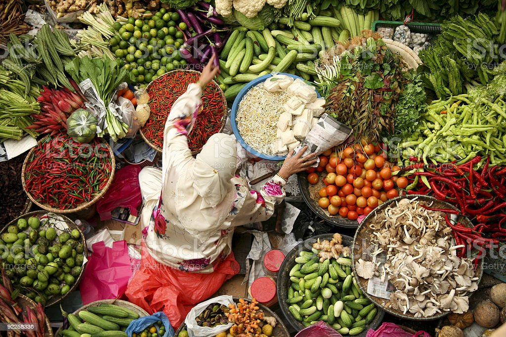 asian fresh vegetable market muslim woman stock photo