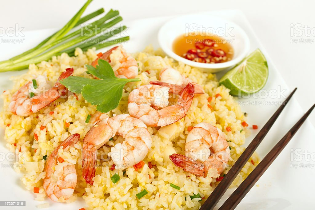 Asian Fried rice with shrimps with chopsticks royalty-free stock photo