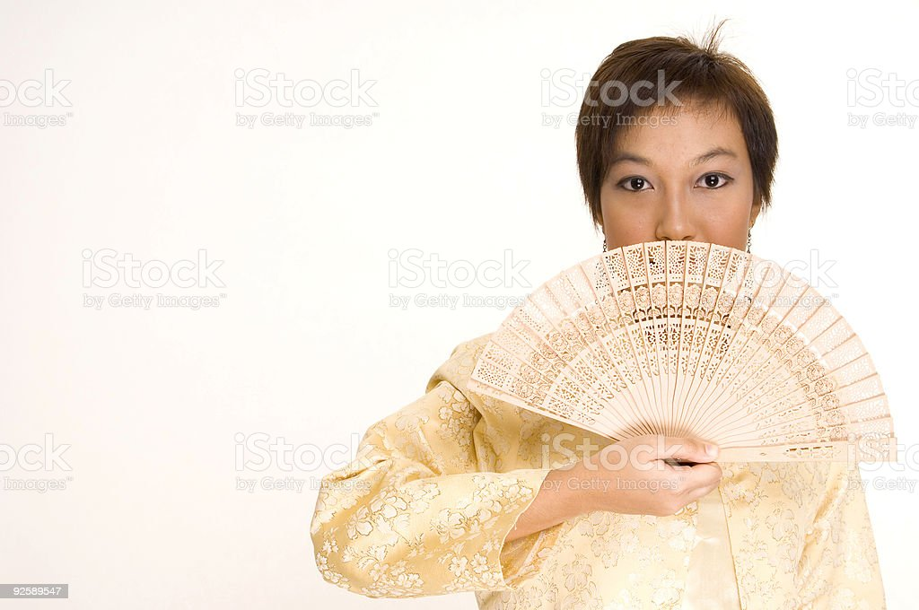 Asian Girl and Fan royalty-free stock photo