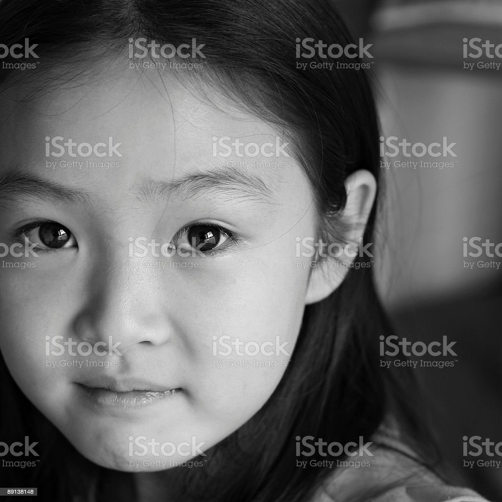 asian girl - black and white royalty-free stock photo