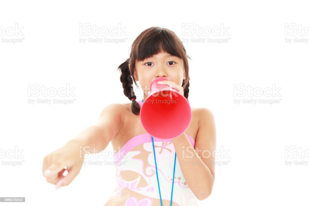Asian girl cheering stock photo