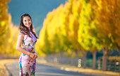 Asian Girl Enjoy the Autumn at Napa Valley, California