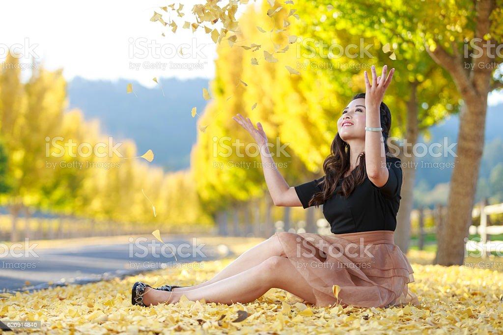 Asian Girl Enjoy the Autumn at Napa Valley, California stock photo
