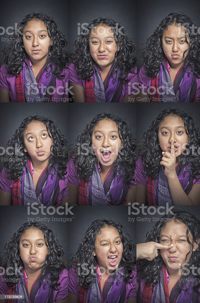 Asian girl facial expression collection royalty-free stock photo