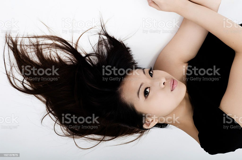 Asian girl in black dress royalty-free stock photo