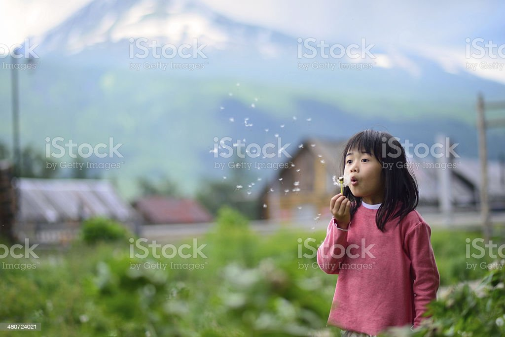 Asian girl in rural area stock photo