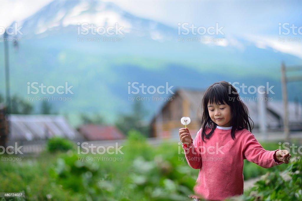 Asian girl in rural area stock photo