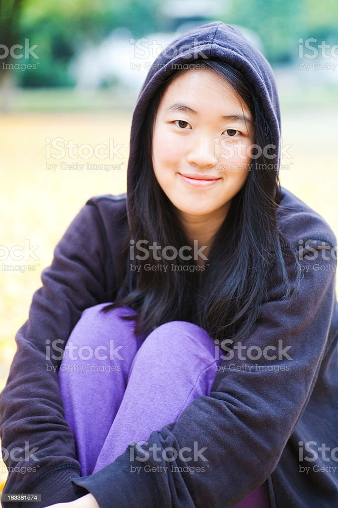 Asian girl in the park stock photo