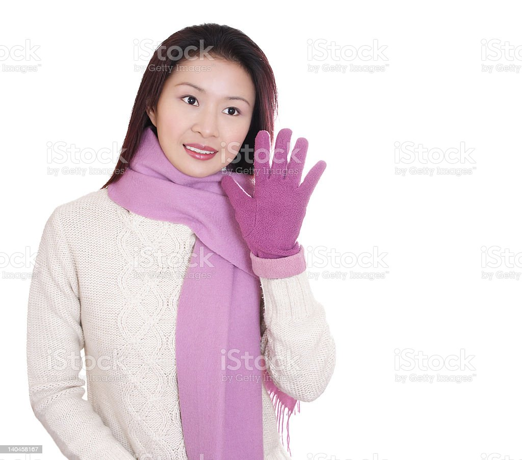 Asian Girl in white sweater and purple scarf royalty-free stock photo