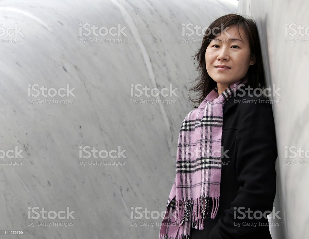Asian Girl In Winter Clothes royalty-free stock photo