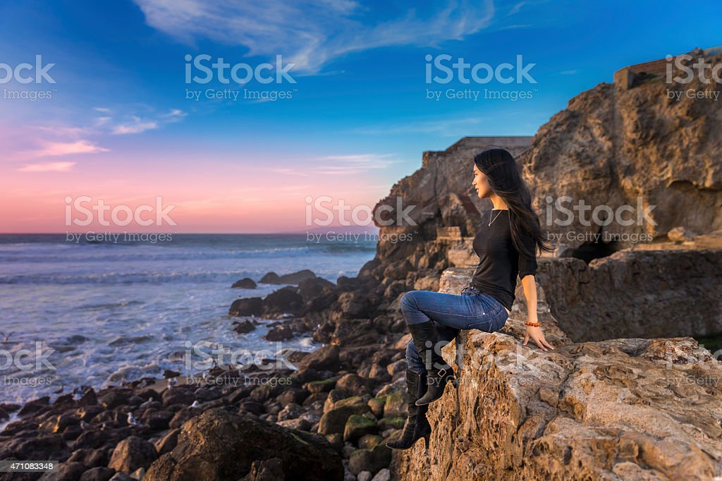 Asian girl look out at Sutro Baths of San Francisco stock photo