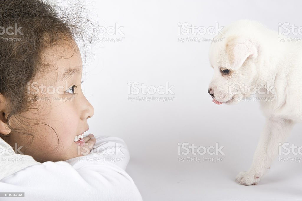 asian girl looking a little dog royalty-free stock photo