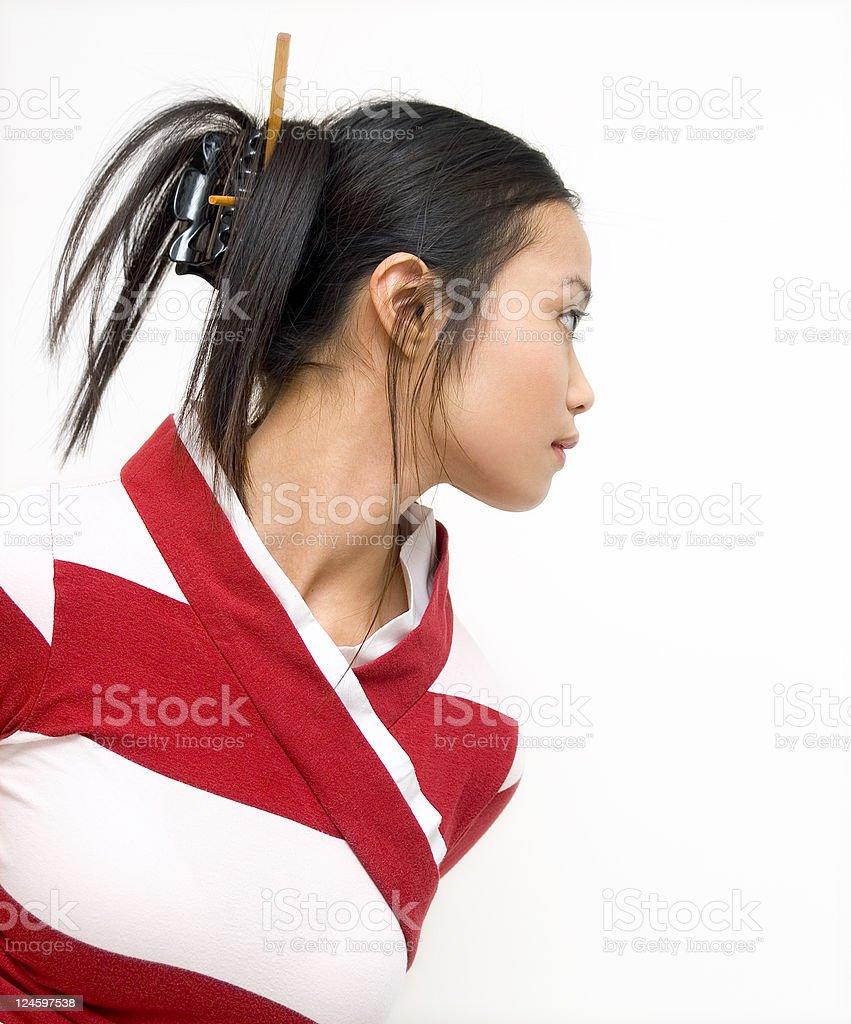 Asian Girl Looking Away stock photo