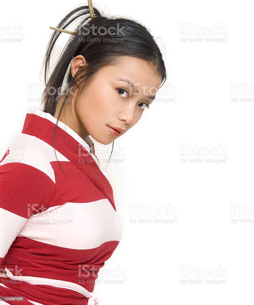 Asian Girl Looking Serious stock photo