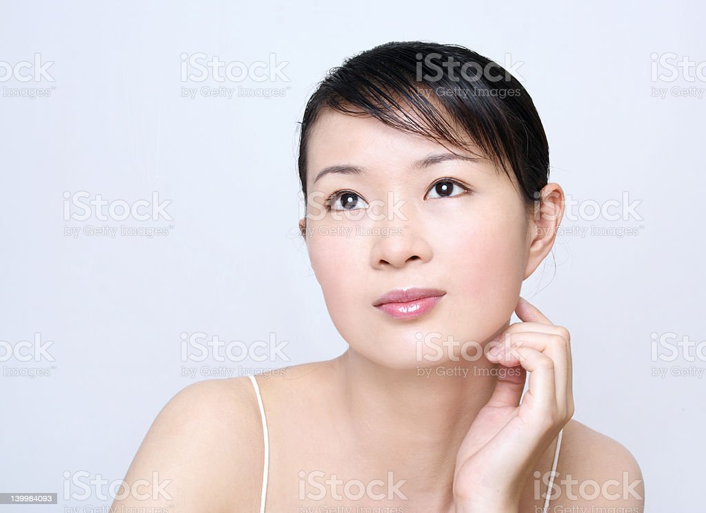 Asian Girl Looking Up royalty-free stock photo