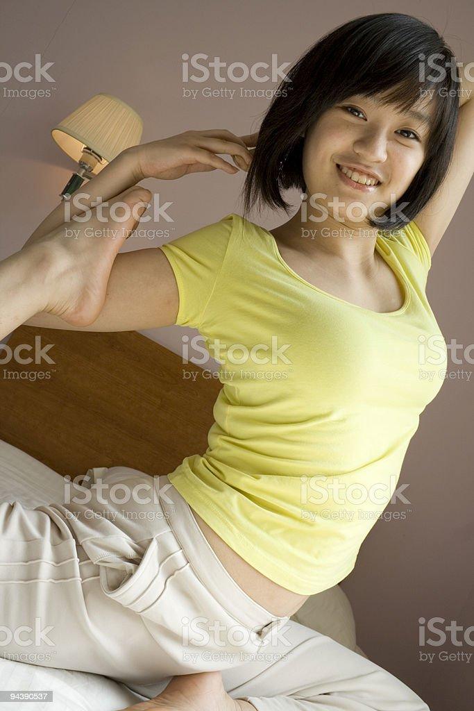 Asian girl practicing Yoga royalty-free stock photo