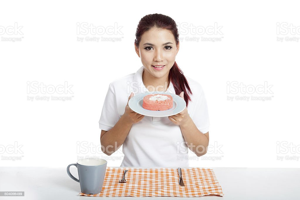 Asian girl show strawberry cake stock photo