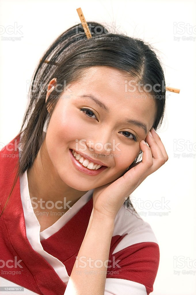 Asian Girl Smiling Happily stock photo