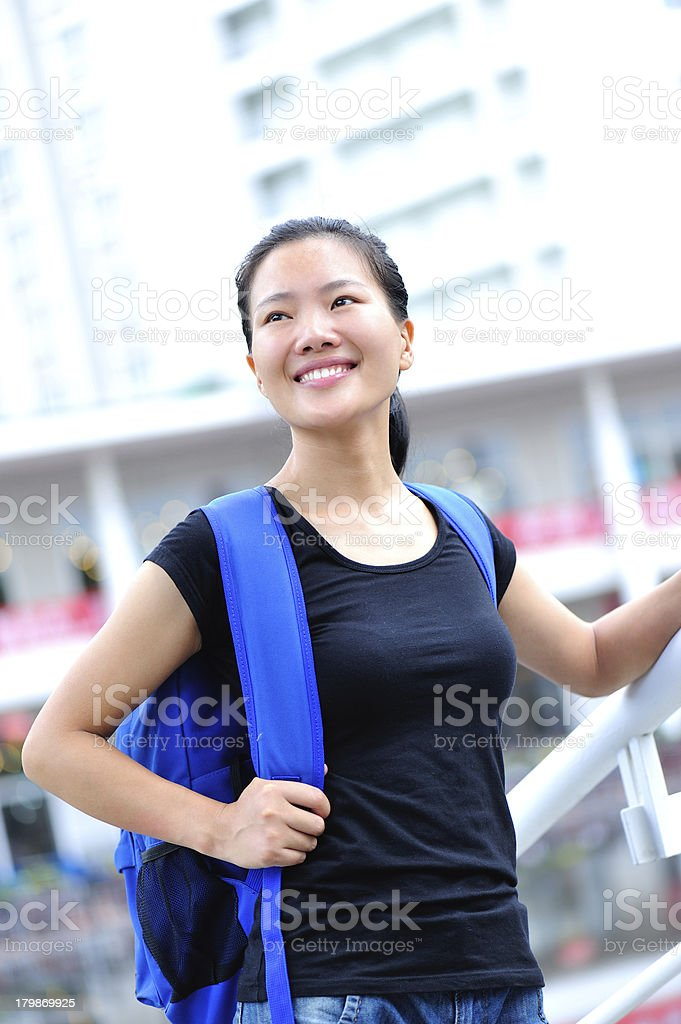 asian girl student happy smiling in campus royalty-free stock photo