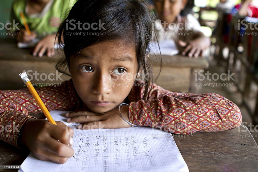 Asian girl studying hard at school stock photo
