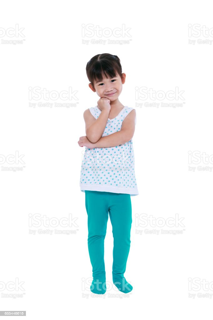 Asian girl thinking and smiling. Isolated on white background. stock photo