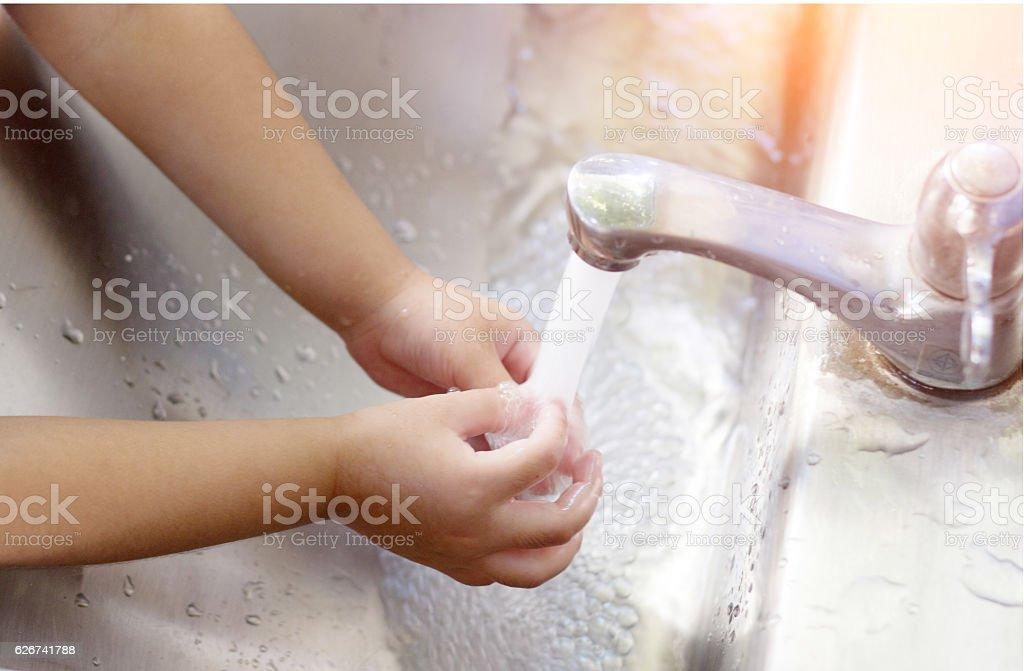 asian girl watching hand stock photo