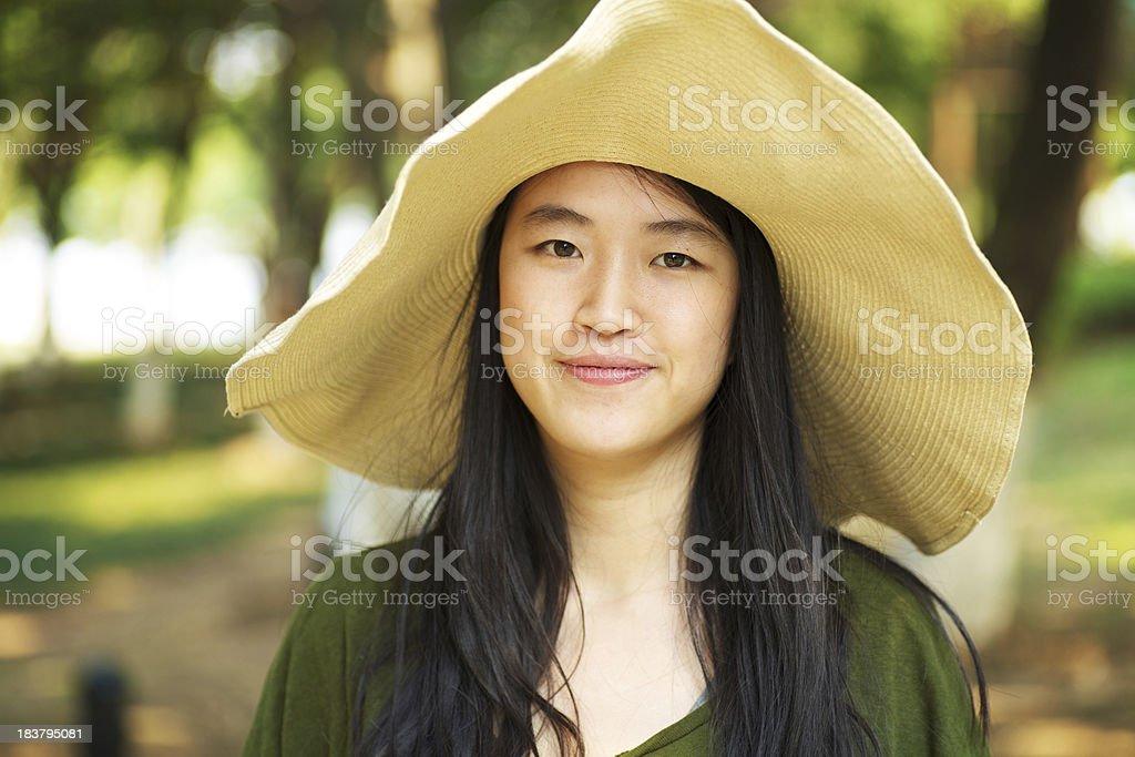 Asian girl wearing strawhat royalty-free stock photo