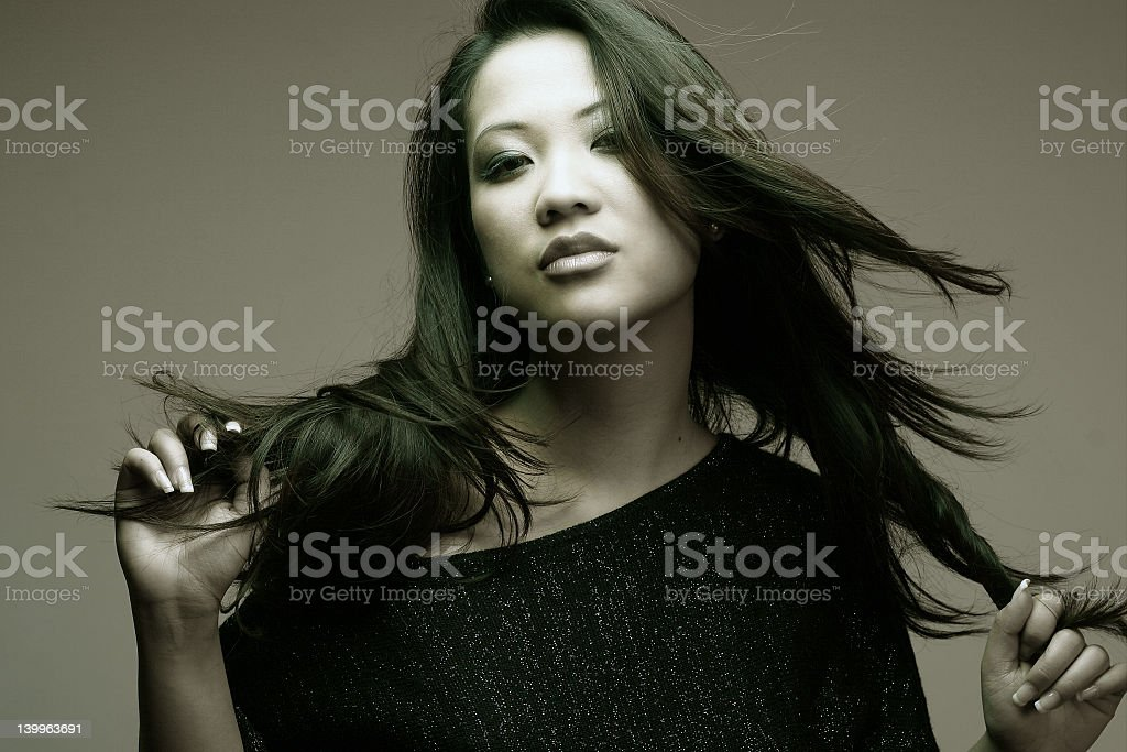 Asian girl with long hair royalty-free stock photo