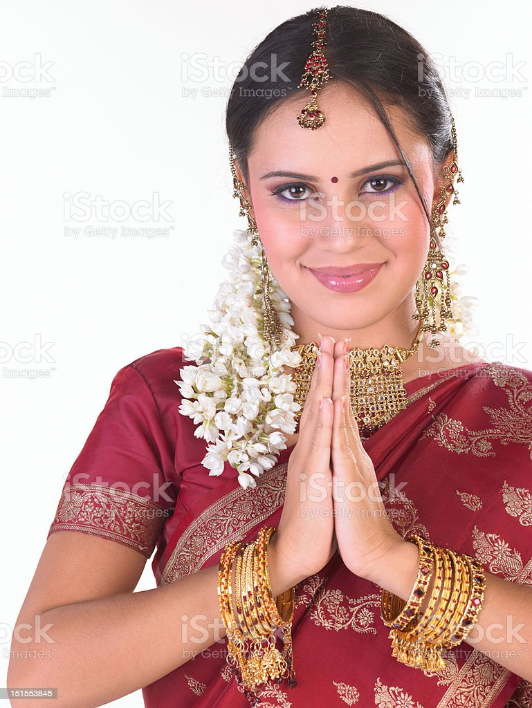 Asian girl with red sari stock photo