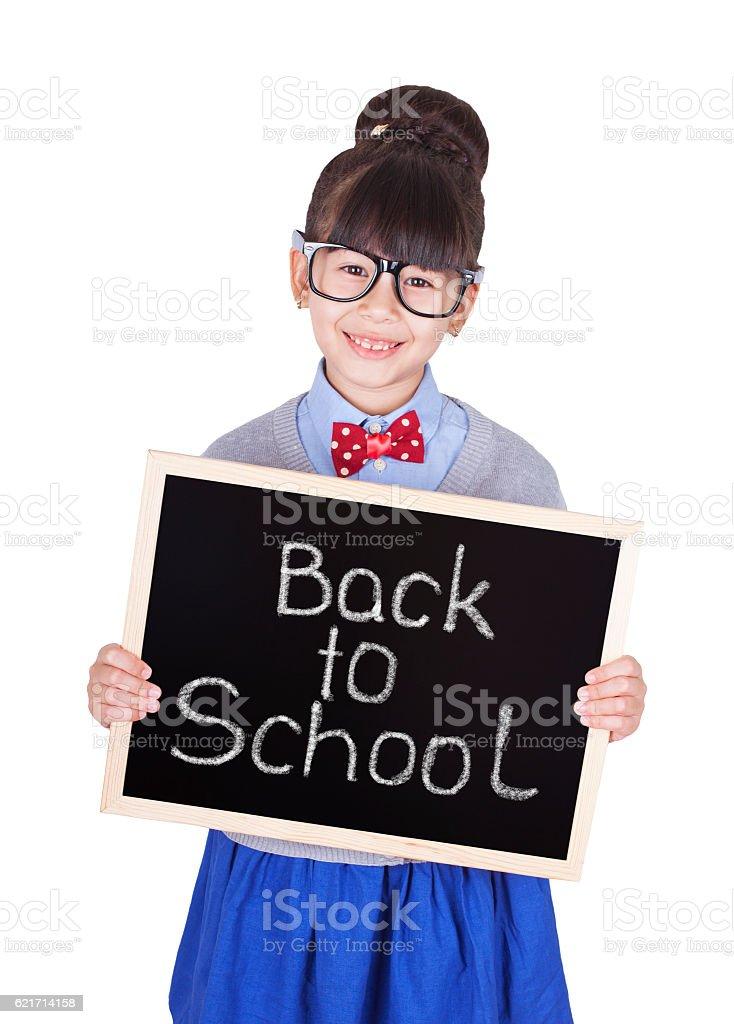 Asian girl with small blackboard stock photo