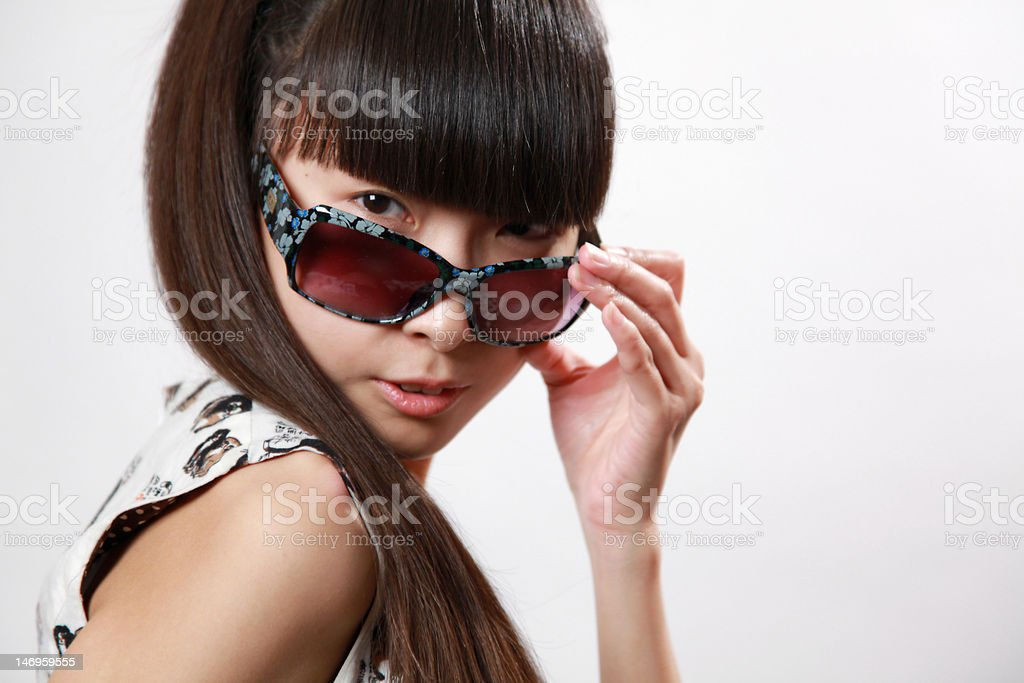 Asian girl with sun glasses royalty-free stock photo