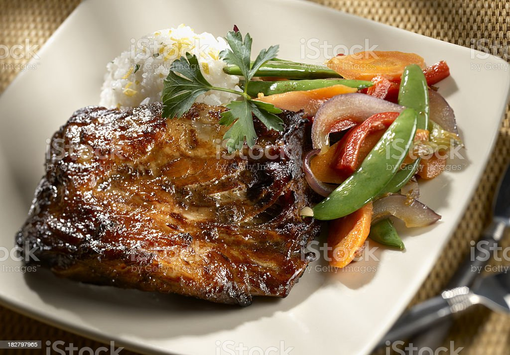 Asian Grilled Spareribs with stir fry vegetables royalty-free stock photo