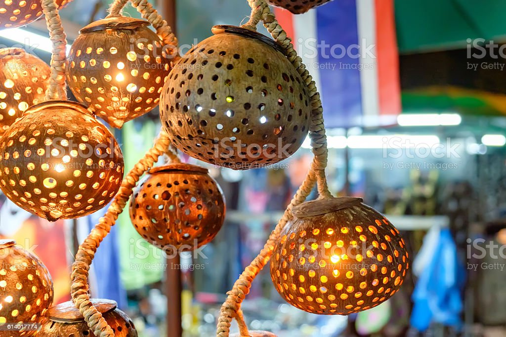 Asian handmade lights for sale in night market stock photo