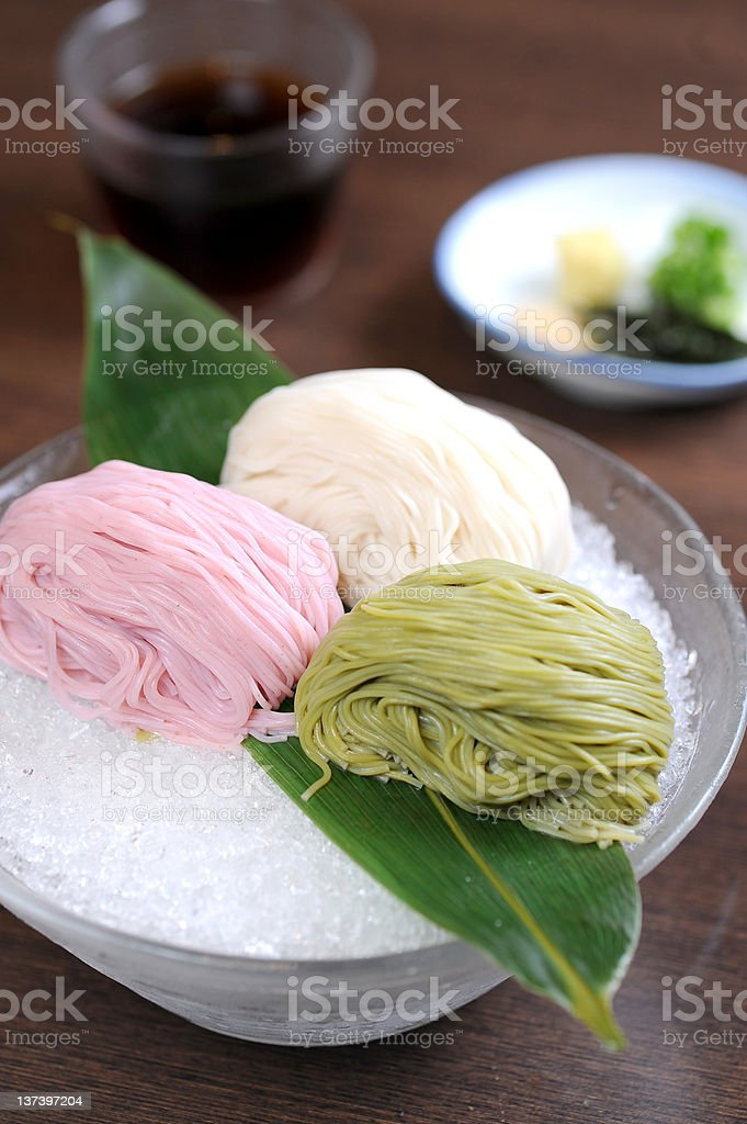 Asian healthy food, rice noodles and ice stock photo